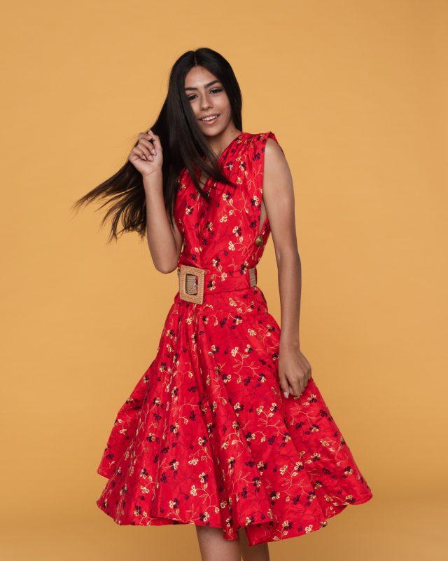 yulia ostrovsky styling - fashion model in red dress - 3